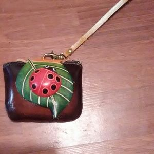 Leather coin purse lady bug wristlet